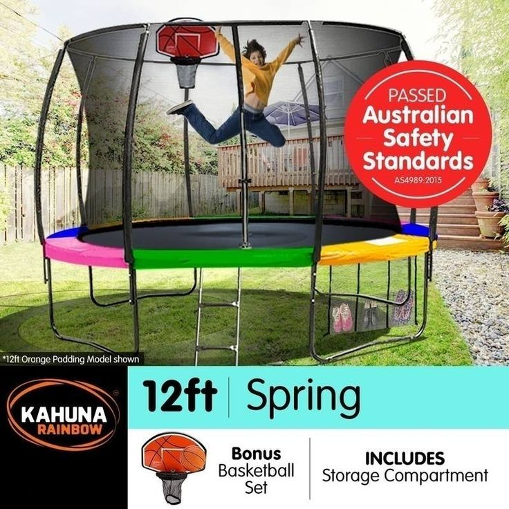 Kahuna 12ft Trampoline with Net Enclosure - Rainbow | Buy 12ft Trampoline