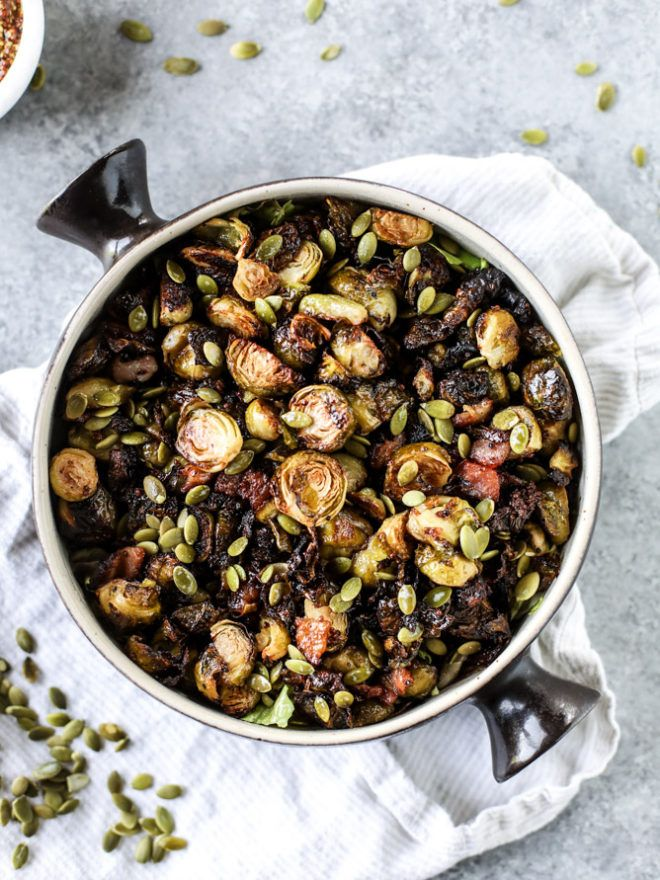 Mustard Roasted Brussels Sprouts with Bacon.