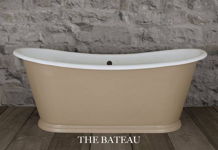 """The #original Bateau - This stunning #CastIron #bath was rescued from a house, restored and painted in #FarrowandBall """"London Stone"""" paint"""