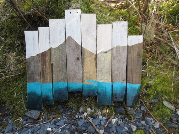 Sky ... Mountains ... Sea  Landscape  Reclaimed Wood Painting Pallet Art  by TheElegantArtist, $200.00