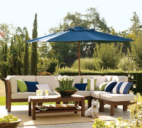 "Build Your Own - Chesapeake Sectional Components. Come see what the outdoor sectional ends up looking like. -Pottery Barn ""build your own"" outdoor sectional. Love that it's affordable and I can customize it! And it has arms! Ding ding ding, we have a winner folks!"