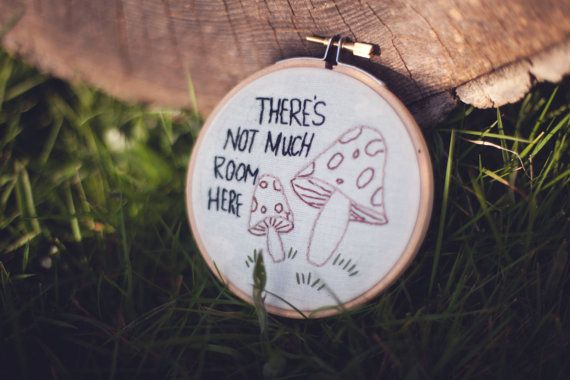 A sweet mushroom pun embroidery for all those punny people to have a unique little gift hung in their home or place of work where ever you want! (it will be yours after all) any questions please dont be afraid to ask its made to order so please be aware of the few days before I would post it to you  4 hoop comes ready to hang up however you desire *probably not suitable outside - if it rains it just wouldnt look good