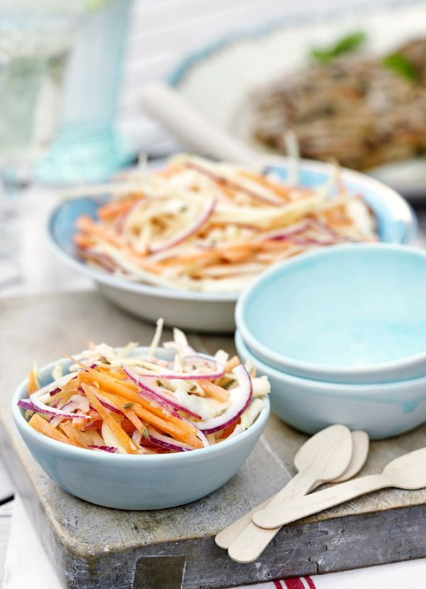 Fennel seed slaw: This colourful crunchy carrot and cabbage coleslaw with fennel-spiced mayonnaise is quick and easy to make and will go well with chicken and burgers.