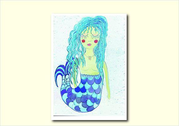 Mermiad Painting Digital DownloadBlue Mermaid Made in