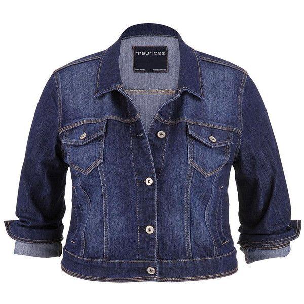 maurices Plus Size - Denim Jacket In Dark Wash ($49) ❤ liked on Polyvore featuring outerwear, jackets, plus size, dark sandblast, button jacket, cotton jean jacket, cotton jacket, long denim jacket and long blue jacket