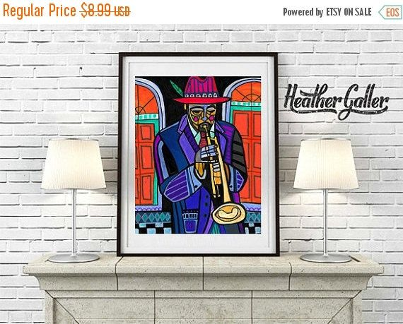 50% Off Today- DIGITAL Print File - Trumpet Player French Quarter Jackson Square Park New Orleans Jazz Musicians Art Print Poster Heather G
