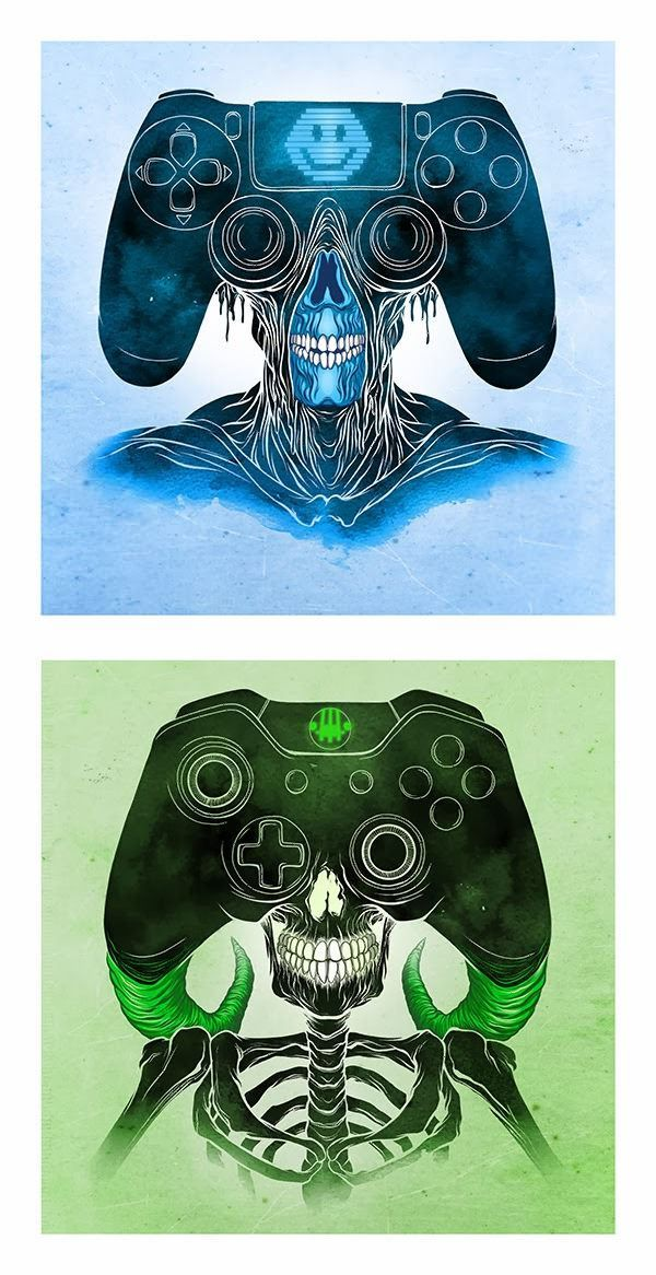 PS4 and XBoxOne controller monsters by Alex Pardee