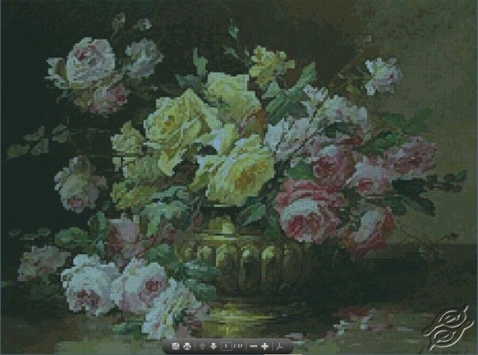 Roses in a Brass Vase - Free Cross Stitch Pattern