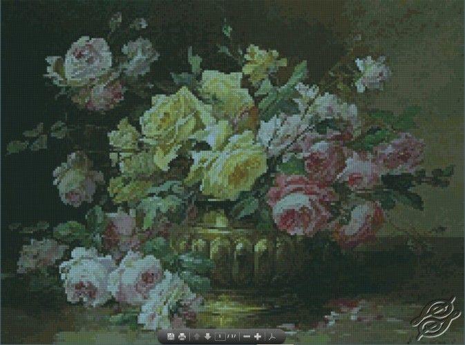 Roses in a Brass Vase