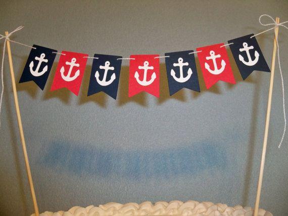 Nautische Cake Topper Banner Strand von BethsBannerBoutique auf Etsy