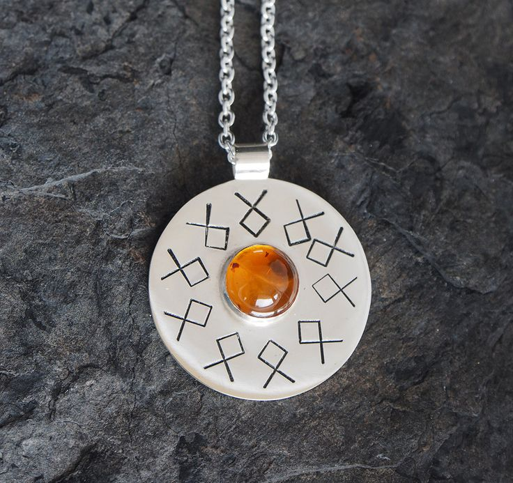 HOLMFRID unique handmade sterling silver necklace pendant jewellery jewelry viking rune othala amber gemstone circular disk geometric bold by OLOVdesigns on Etsy