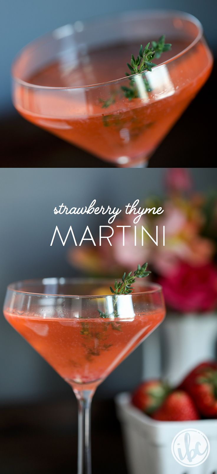 Strawberry Thyme Martini recipe - spring cocktail martini recipe - spring entertaining easter | Inspired by Charm