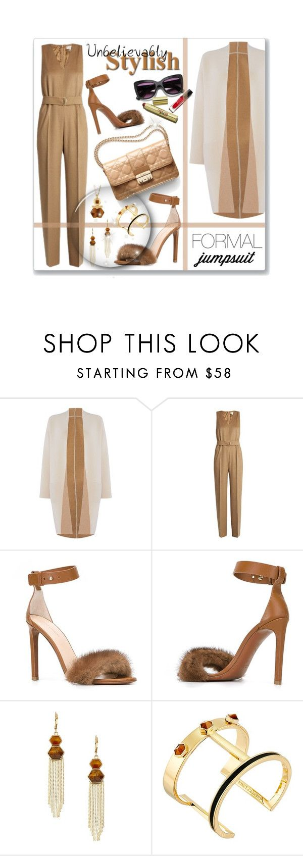 """Formal Jumpsuit"" by leanne-mcclean ❤ liked on Polyvore featuring MaxMara, Erika Cavallini Semi-Couture, Vince Camuto, natural, neutral, jumpsuit, fur and officewear"