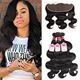 8a Peruvian Body Wave 3 Bundles with Ear to Ear Lace Frontal Closure(13X4) 100% Human Hair Extensions Hair Weave Weft Peruvian Frontal Lace Closure with Bundles Natural Color Weft Can Be Dyed