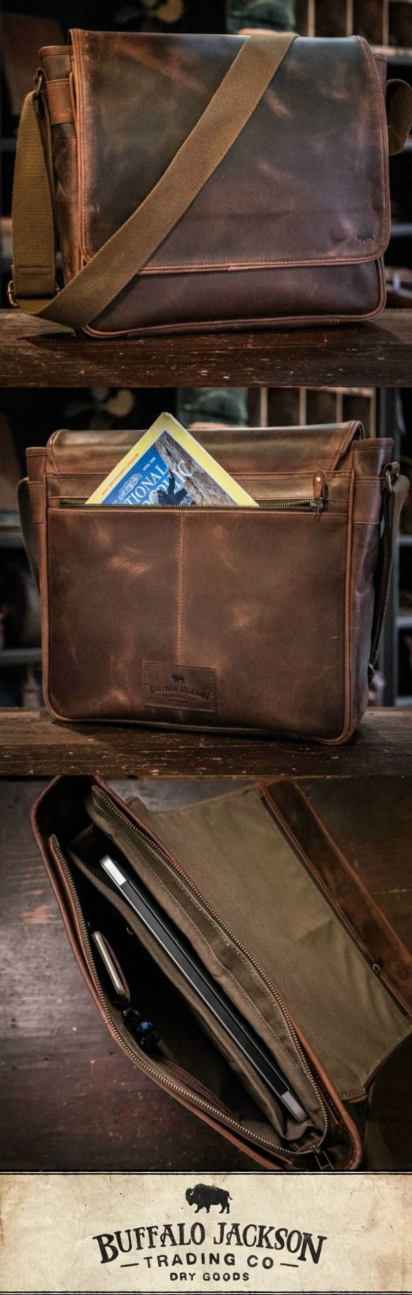 Men's vintage dark brown leather satchel messenger bag. Handcrafted to handle whatever you throw at it - work, travel, or adventure. This just-right, not-too-bulky size will fit up to 15-inch laptops. Adjustable canvas shoulder strap for wearing cross body and casual. You want fashion? Louis Vuitton, Michael Kors, & Hermes (or Coach or Gucci or Prada…), ain't got nothin on us. Rugged craftsmanship for the win. Great gift for him.