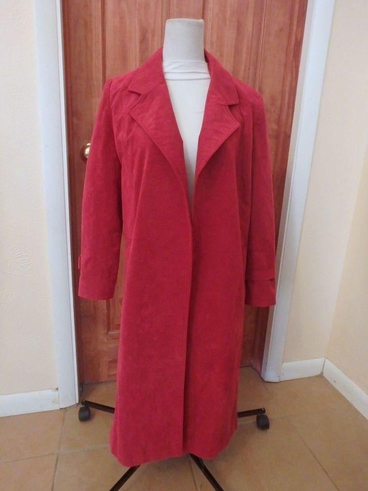 Womens Vtg Red Ultrasuede Faux Suede Long Overcoat Coat Sz 10 medium Union Made #Ultrasuede #Dresscoat #Business