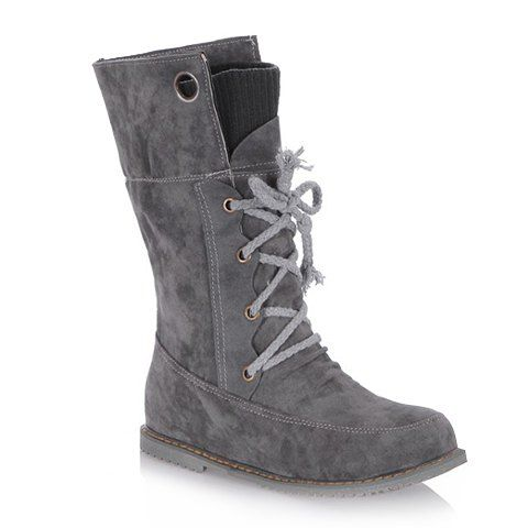 Casual Suede and Lace-Up Design Women's Sweater BootsBoots | RoseGal.com