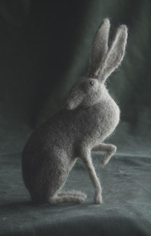 Lovely felt hare by Victor Dubrovsky
