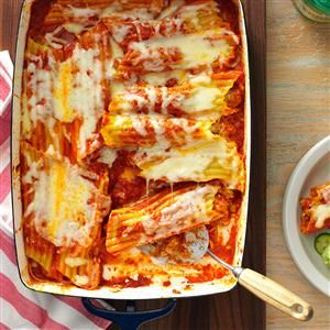 Sausage Manicotti Recipe -This classic Italian entree comes together in a snap, but tastes like it took hours. It's so tasty and easy to fix. My family always enjoys it. —Carolyn Henderson, Maple Plain, Minnesota