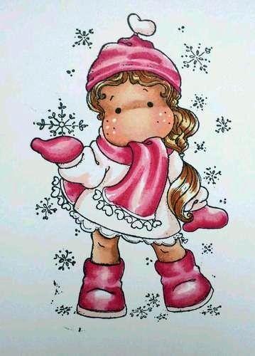 Menininha Segurando Floco de Neve