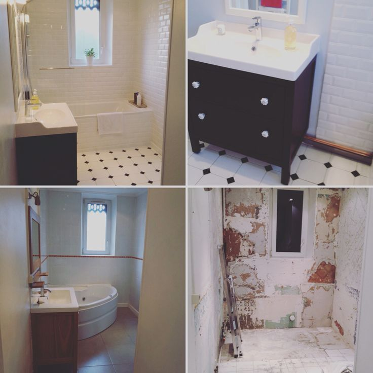Bathroom before and after black and white subway tiles