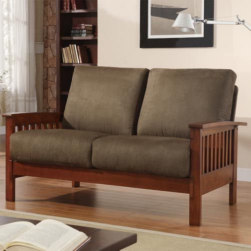 Mission Loveseat with Olive Microfiber #BELLHOT12 #BELLANN12