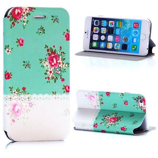 Rozen design compact sideflip hoesje voor iPhone 6