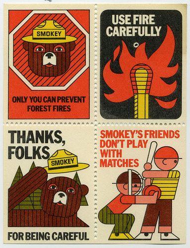 vintage Smokey the Bear stamps