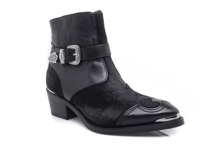Pinko -  Double leather ankle boots with silver buckle details - Black - Elsa-boutique.it <3 #Pinko