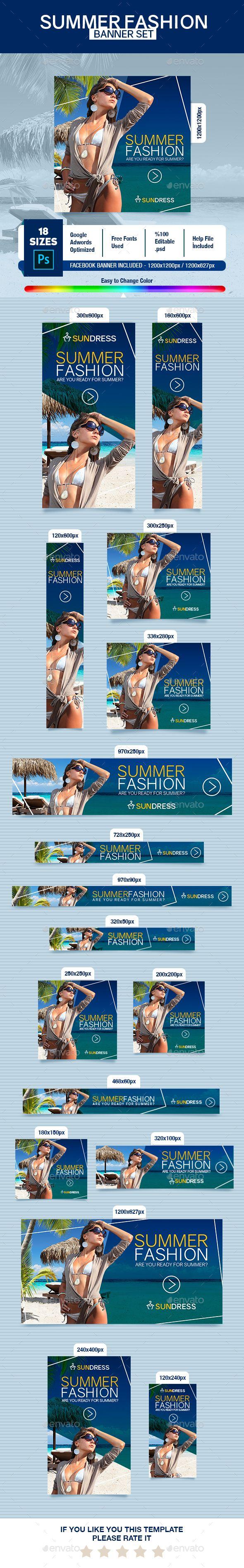 #Summer Fashion Banner Set - #Banners & Ads #Web Elements