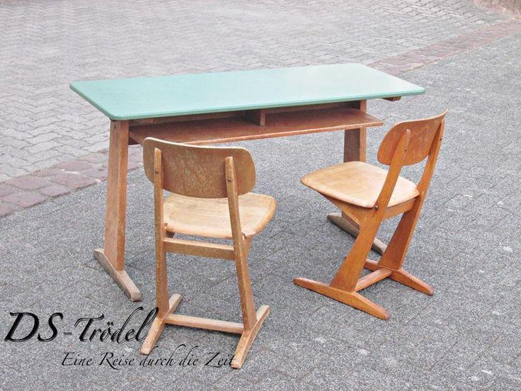 Schulbank mit 2 Stühlen 50/60 er J. Resopal von DS-Troedel auf DaWanda.com