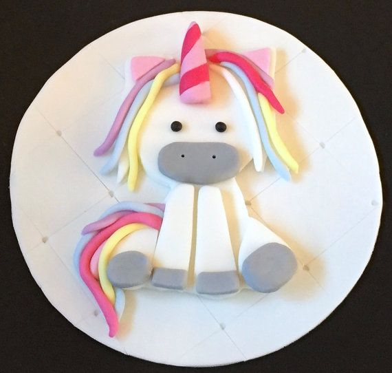 "1 x edible icing Unicorn Birthday 7"" cake topper cake decoration by ACupfulofCake on Etsy £11.50"