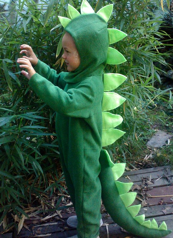 Dinosaur Halloween Costume Kids Green Dino full suit by BooBahBlue, $84.00