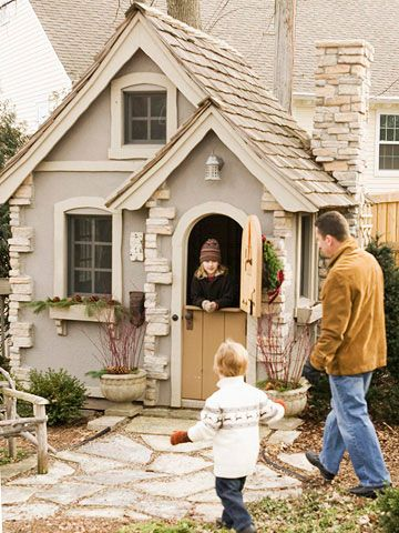 play houses. LOVE. my dad could have totally built one of these for knighten!