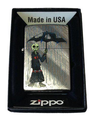 Zippo Custom Lighter – Gray Days EMO Punk Skull Guy w/ Rain
