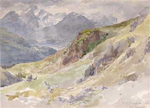 Der Alp Languard mit Piz Palü und Bernina Massiv , 1914 - Edward Theodore Compton