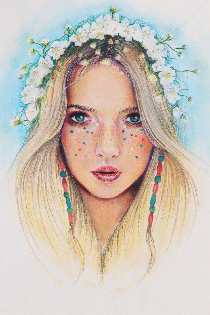 """Hippie Chick"", Girl illustration, drawing / Ragazza, illustrazione, disegno - Art by JoanneBarby on deviantART"