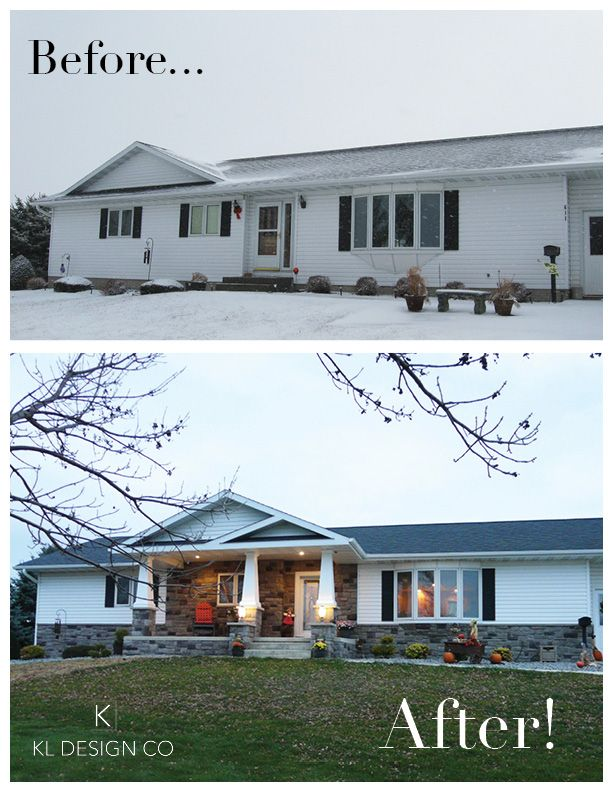 Before and after shots of a remodel in Iowa. Designed by K.L. Design LLC