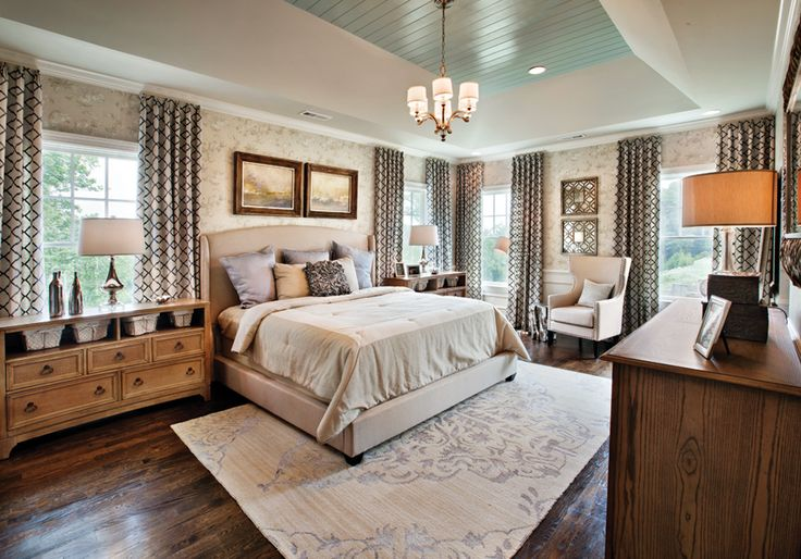 Master Bedroom With Wood Floors Large Carpet Rug Wallpaper And Curtains Each With Different