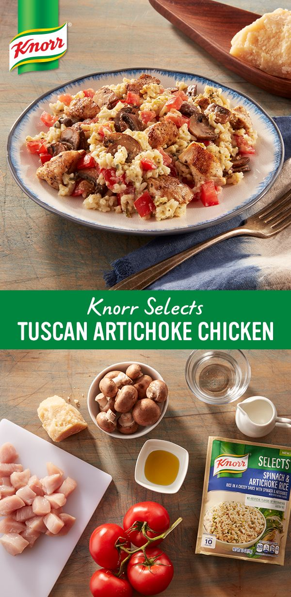 Gluten-free with no artificial flavors or preservatives, creamy new Knorr® Selects Spinach & Artichoke Rice pairs deliciously with chicken and veggies for a 30-minute recipe with a Tuscan twist.
