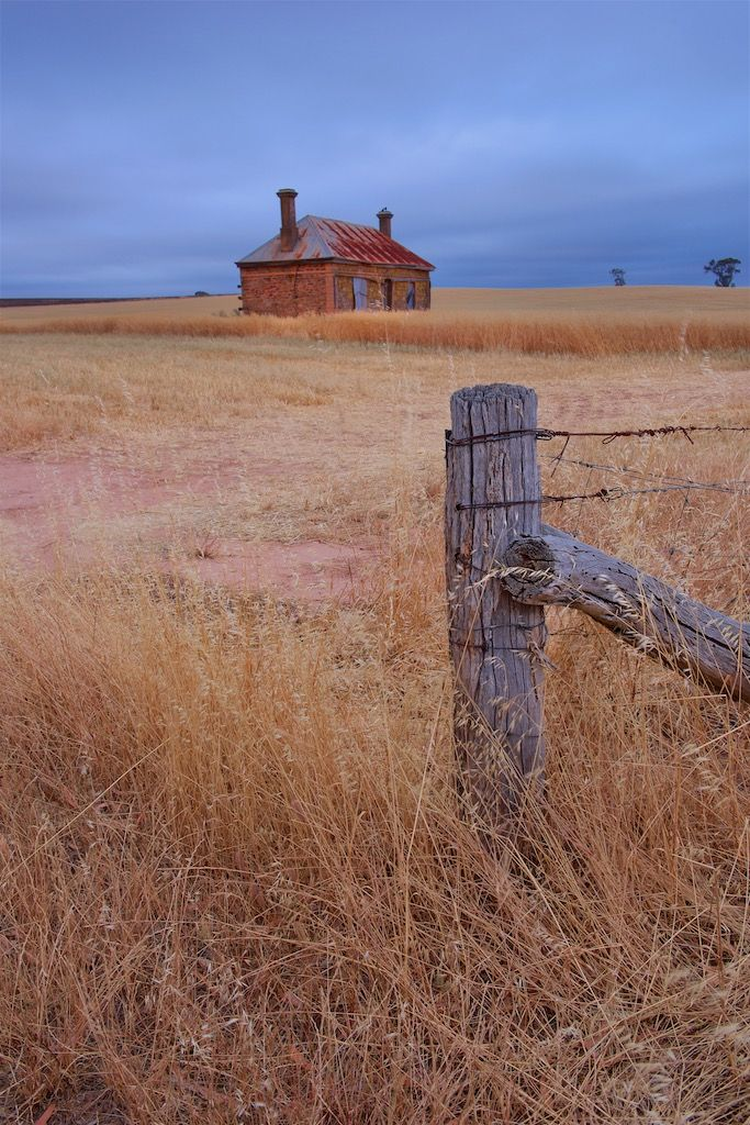 Stone and wood. This old abandoned stone house sits in a sea of wheat in the Barossa Valley, South Australia.