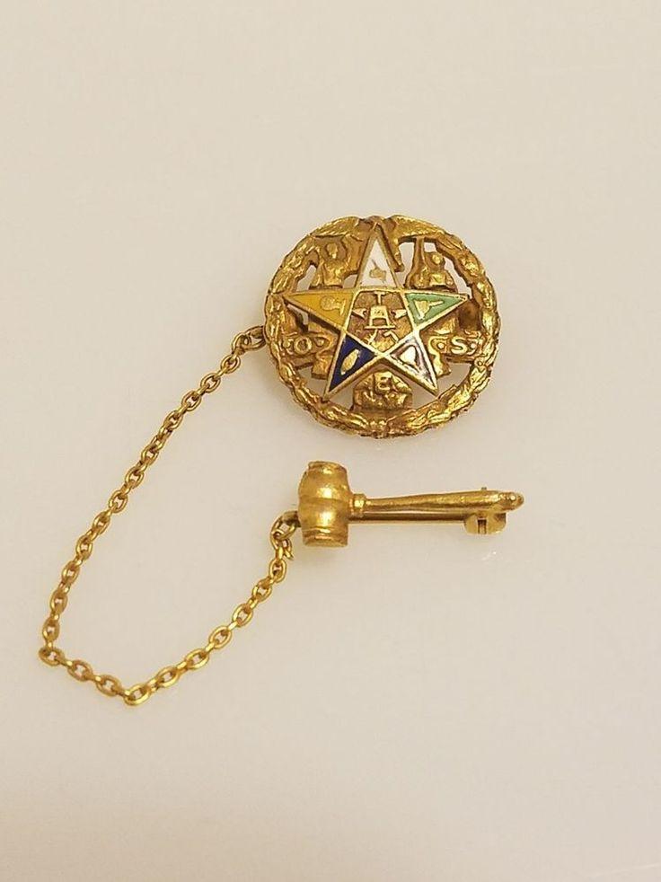 VTG 10K Gold N.Y. Masonic Order of the Eastern Star Pin Chain Gavel 2.7g   Collectibles, Historical Memorabilia, Fraternal Organizations   eBay!