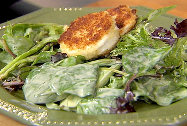 Salad with warm goat cheese recipe goat cheese goats Ina garten goat cheese tart