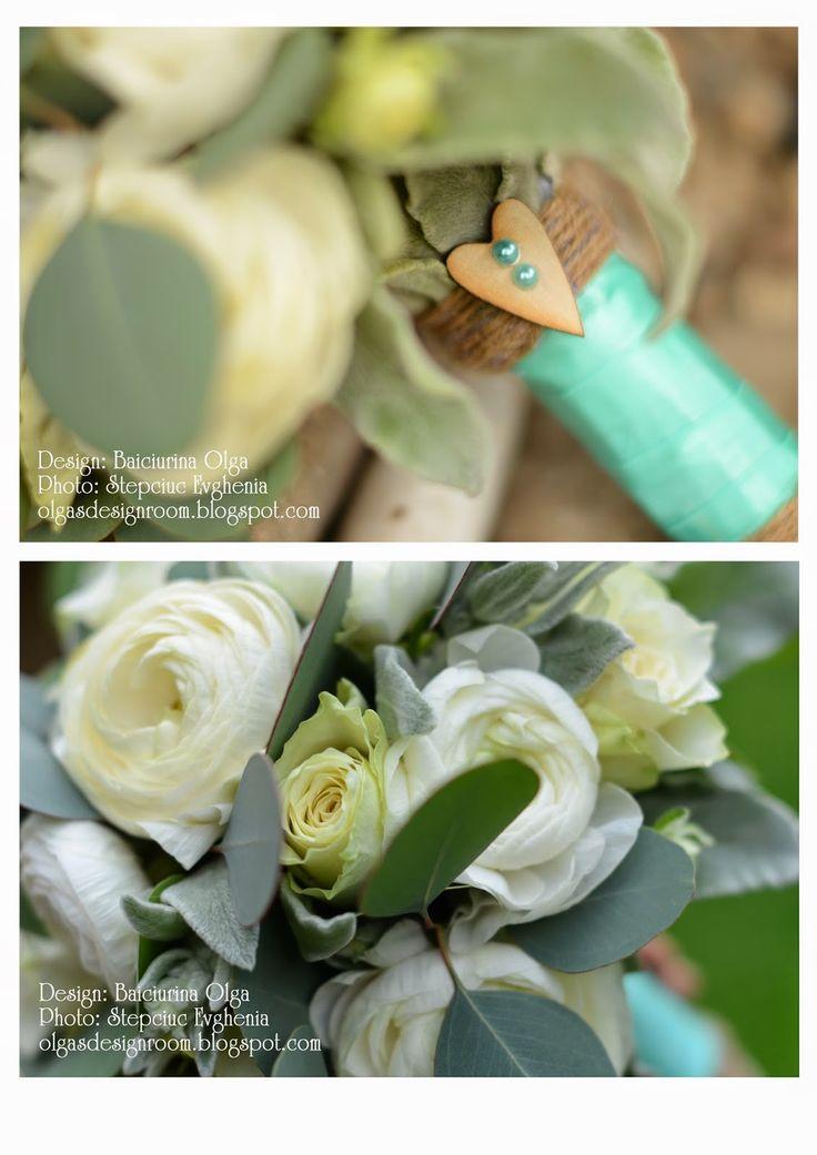 Baiciurina Olga's Design Room: Mint&Wite rustic wedding bouquet-Бело-ментоловый свадебный букет в стиле рустик.