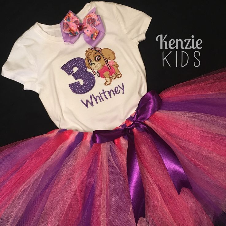 Paw Patrol birthday outfit by Kenzie Kids Boutique Skye hair clip, tutu and embroidered onesie
