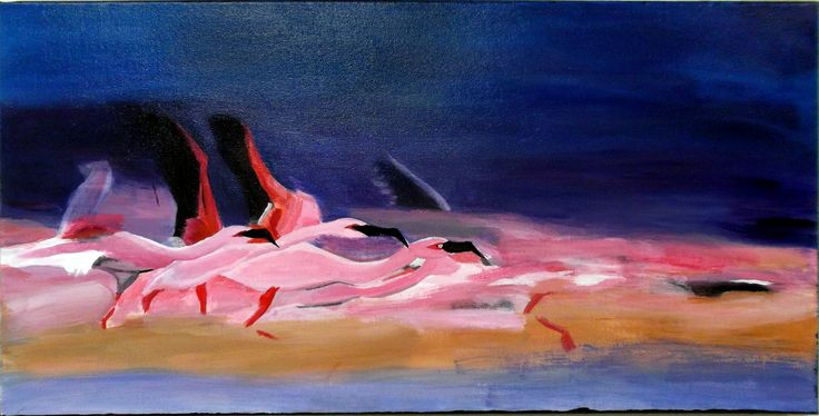"2015 JC In-House Award Winner Carol Rousch for her acrylic painting ""Flamingos in Flight"" #janecameron #disabilityart"