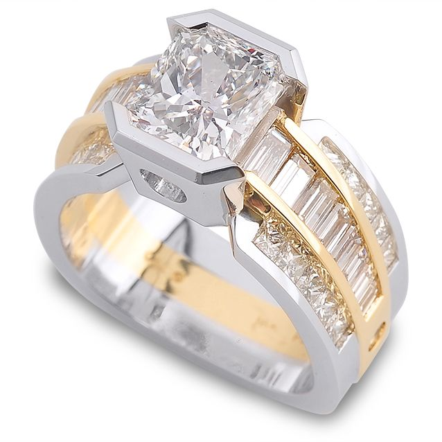 Paragon Collection - 2.20ct Radiant Cut Diamond accented by Diamonds set in 18K Yellow Gold & Platinum.