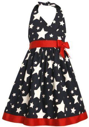 Amazon.com: Bonnie Jean Girl PLUS SIZE 12.5-20.5 NAVY-BLUE RED WHITE STAR PRINT WOVEN HALTER Spring Summer Americana Patriotic Dress: Clothing