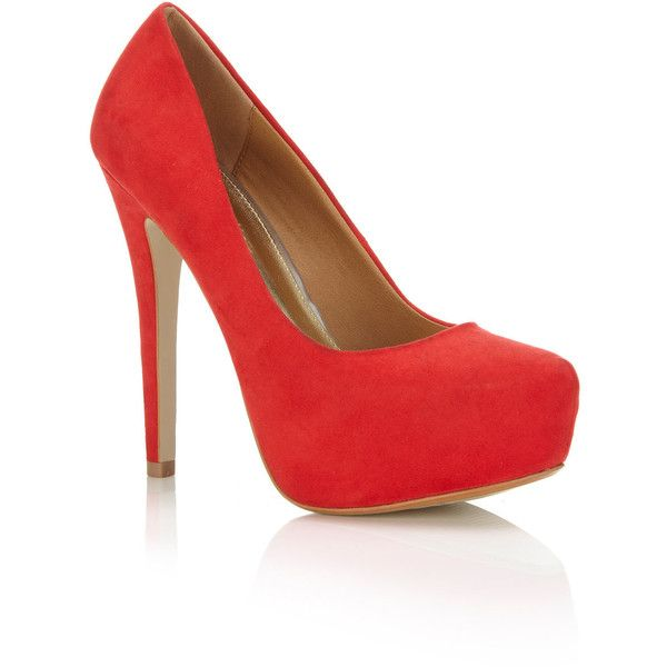 Miss Selfridge Sassy Red Court Shoe ($59) ❤ liked on Polyvore featuring shoes, pumps, heels, sapatos, chaussures, high heels, red, miss selfridge, platform pumps and miss selfridge shoes