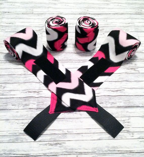 "Set of 4 horse sized #polowraps. Pink/white/black chevron. These wraps are made from 4 3/4"" wide and 9' long fleece with heavy duty Velcro tabs. $22 plus shipping."